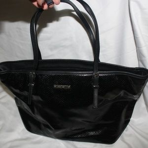 Nine West Patent Black Leather Tote Bag